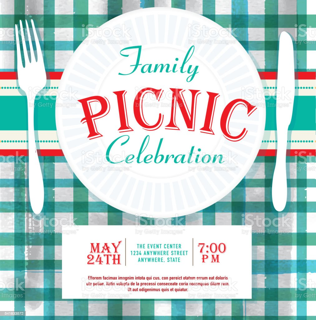 Picnic or barbecue family fun event invitation design template vector art illustration