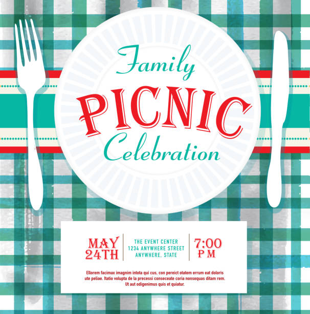 ilustrações, clipart, desenhos animados e ícones de piquenique ou churrasco de família divertidas evento modelo de design de convite - reunião de família