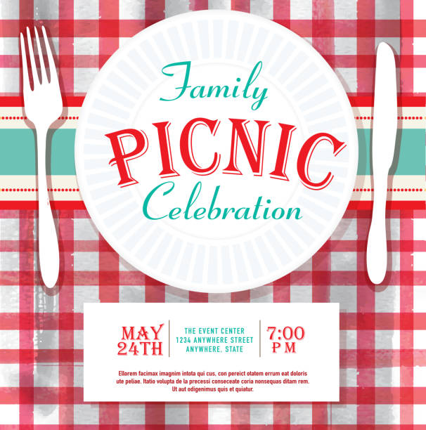 picnic or barbecue family fun event invitation design template - family reunion stock illustrations, clip art, cartoons, & icons