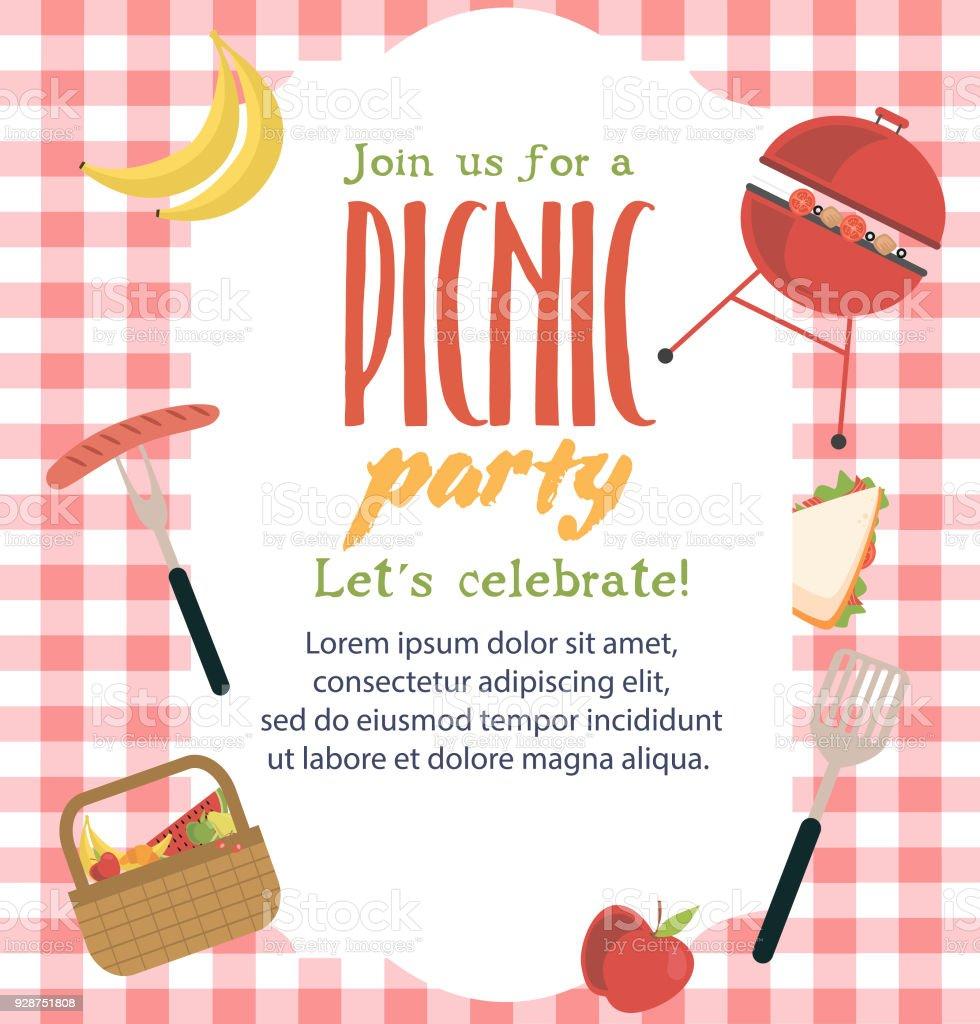 Picnic or barbecue party invitation card stock vector art more picnic or barbecue party invitation card royalty free picnic or barbecue party invitation card stock stopboris Images