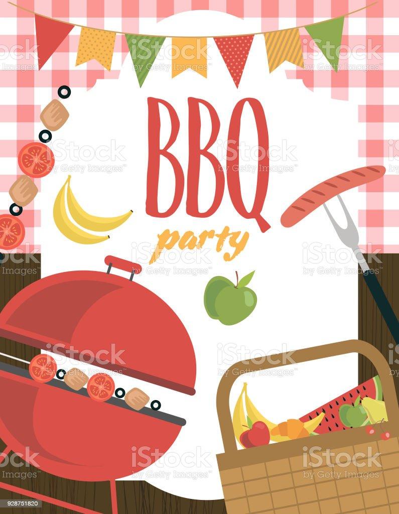 Picnic or barbecue party invitation card vector art illustration