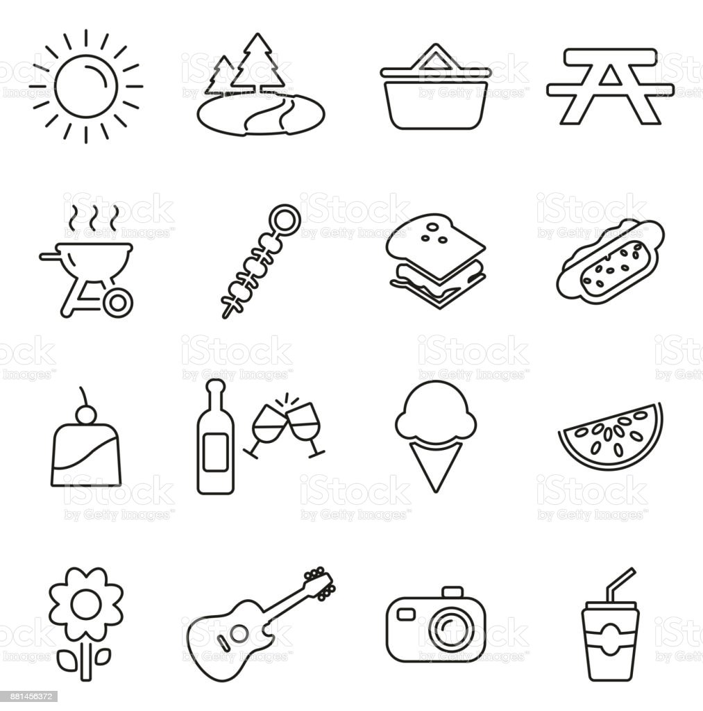 Picnic or Outdoor Barbecue Icons Thin Line Vector Illustration Set vector art illustration