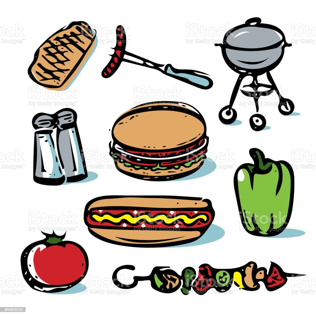 Picnic outdoor grilling food icon collection vector art illustration