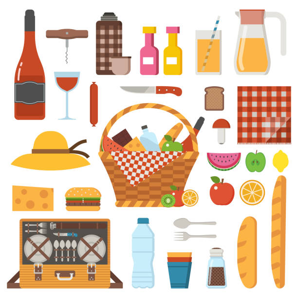 2 125 Picnic Basket Cartoon Illustrations Clip Art Istock