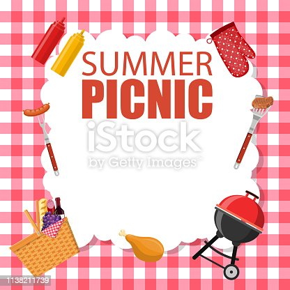 Picnic party invitation card. summer picnic design, invitation card, Banner, poster design template. Vector illustration in flat style