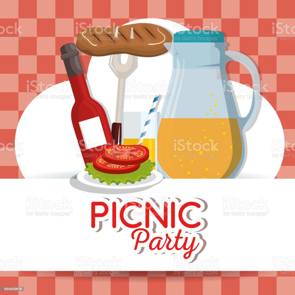 picnic party invitation set icons stock vector art more images of