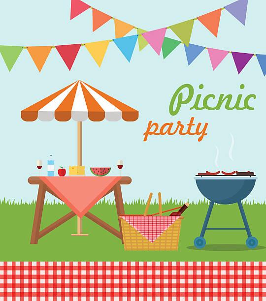 ilustraciones, imágenes clip art, dibujos animados e iconos de stock de cartel de día de campo - picnic