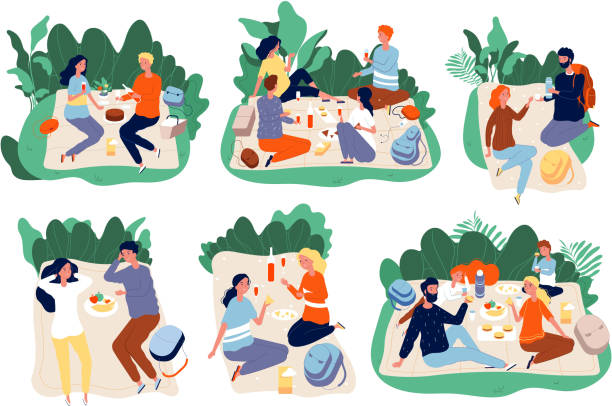Picnic people. Outdoor family happy group together eating dinner in green summer park vector picnic characters Picnic people. Outdoor family happy group together eating dinner in green summer park vector picnic characters. Illustration picnic meal, woman and man together in park picnic stock illustrations