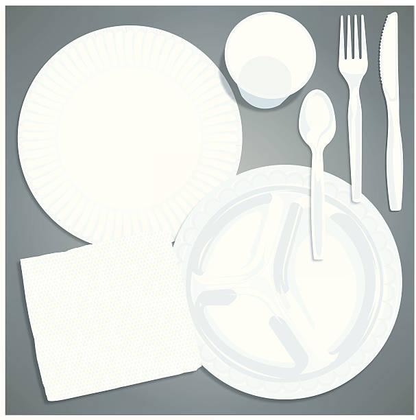 picknick-gedeck-papier teller, besteck, serviette hintergrund - plastikteller stock-grafiken, -clipart, -cartoons und -symbole