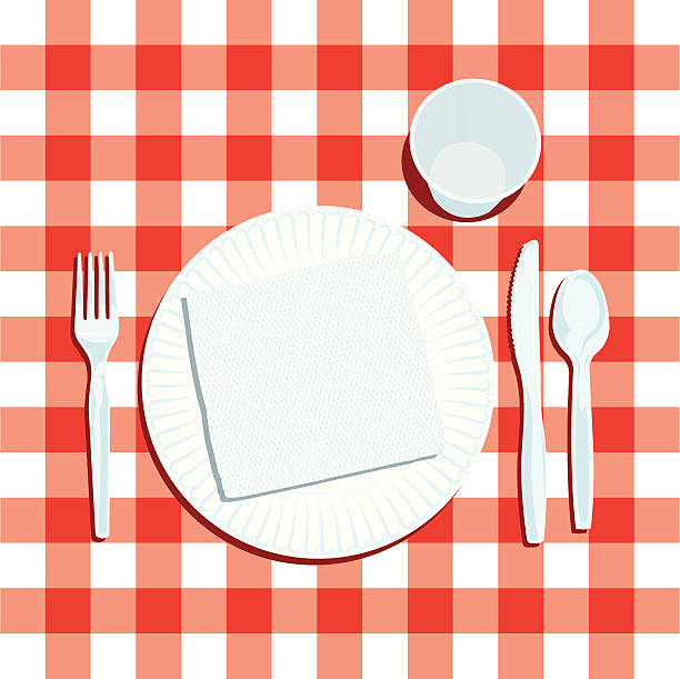 stockillustraties, clipart, cartoons en iconen met picnic place setting with plate and silverware - servet