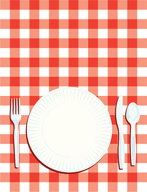 picknick-gedeck mit tisch und tuch hintergrund - plastikteller stock-grafiken, -clipart, -cartoons und -symbole