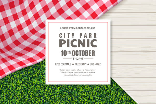 Picnic poster or banner design template. Vector background with realistic red gingham tablecloth, wooden table and grass Picnic poster or banner design template. Vector background with realistic red gingham plaid or tablecloth, white wooden table and green grass lawn. Restaurant, cafe menu design elements. picnic stock illustrations