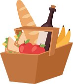 Picnic product basket vector illustration.