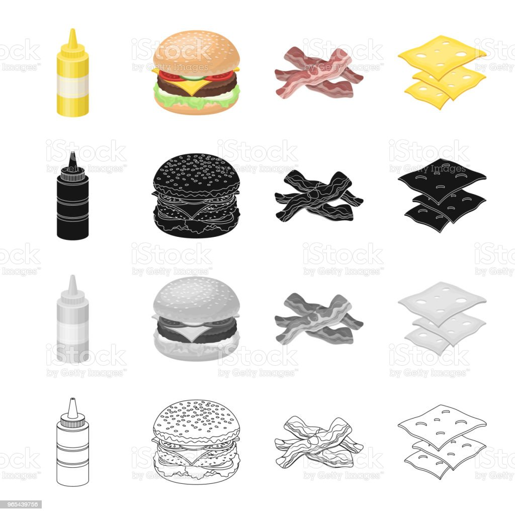 Pique-nique, sandwich, burger et autre icône web en style cartoon. Bouteille, emballage, moutarde icônes dans la collection de jeu. - clipart vectoriel de Bacon libre de droits