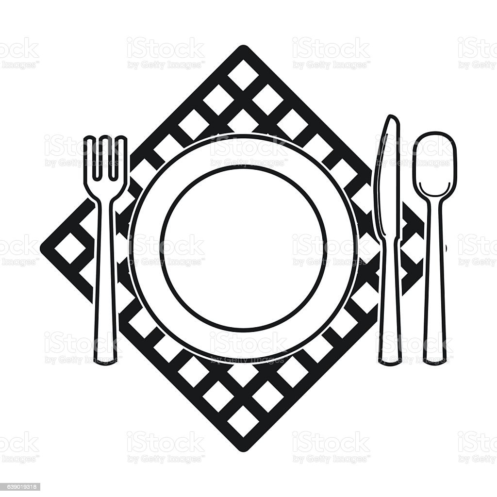 Picnic Served Table Icon In Black Style Isolated On White ...