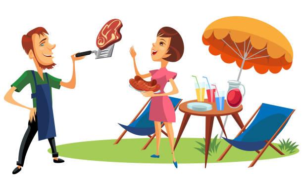 picknick-sommerurlaub und urlaubsphänster. frau mit blick auf fleischsteak auf spachtel halten teller mit gerösteten würstchen. cocktails und getränke mit strohhalmen in gläsern - gartensofa stock-grafiken, -clipart, -cartoons und -symbole