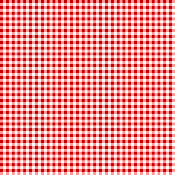 picnic table cloth. seamless checkered vector pattern. vintage color plaid fabric texture. - checked pattern stock illustrations