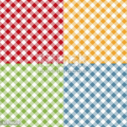 Picnic table cloth seamless pattern set. Picnic plaid texture. Vector