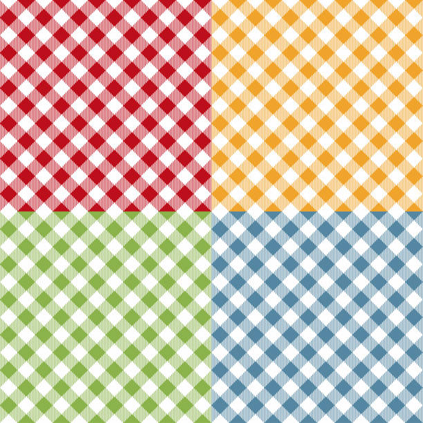 illustrazioni stock, clip art, cartoni animati e icone di tendenza di picnic table cloth seamless pattern set. picnic plaid texture - kitchen situations