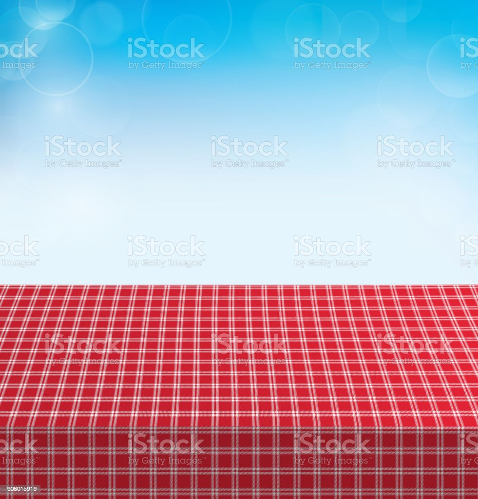 Picnic Table Covered With Checkered Tablecloth. Vector Illustration  Royalty Free Picnic Table Covered With