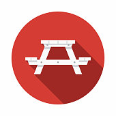 Picnic Table Flat Design USA Icon with Side Shadow
