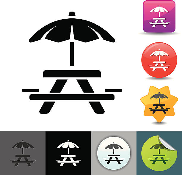 Picnic table icon | solicosi series vector art illustration