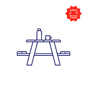 Picnic Table Icon with Editable Stroke and Pixel Perfect.
