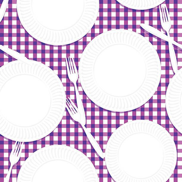 picknick-tisch, geschirr und utensilien nahtlose muster - plastikteller stock-grafiken, -clipart, -cartoons und -symbole
