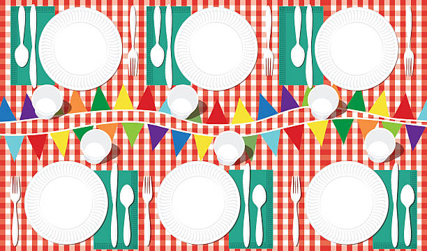 picnic table with place settings and bunting flags - family reunion stock illustrations, clip art, cartoons, & icons
