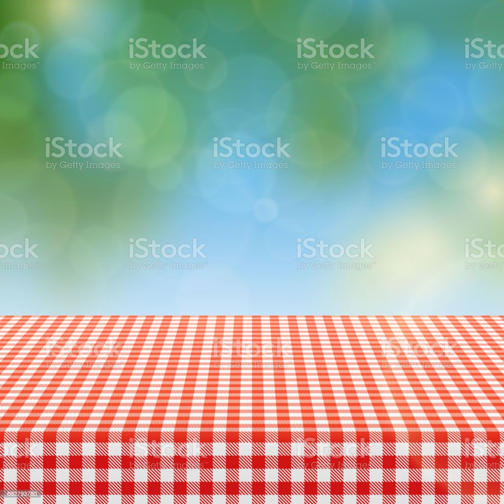 Picnic Table With Red Checkered Pattern Of Linen Tablecloth And Blurred  Nature Background Vector Illustration Royalty