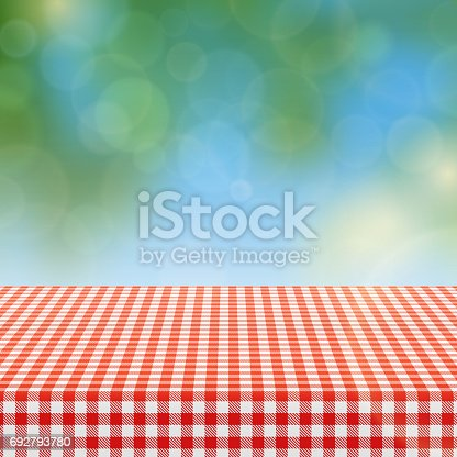 istock Picnic table with red checkered pattern of linen tablecloth and blurred nature background vector illustration 692793780