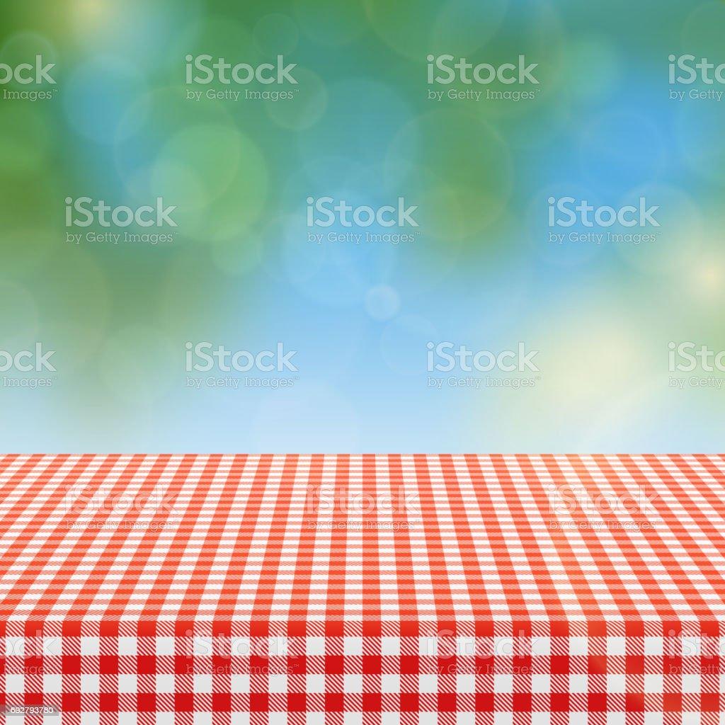 Mesa de piquenique com padrão quadriculada vermelha de toalha de mesa de linho e natureza turva fundo ilustração em vetor - ilustração de arte em vetor