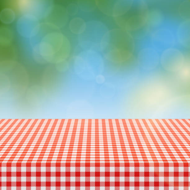 picnic table with red checkered pattern of linen tablecloth and blurred nature background vector illustration - picnic stock illustrations, clip art, cartoons, & icons