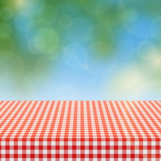 ilustraciones, imágenes clip art, dibujos animados e iconos de stock de mesa de picnic con rojo patrón de cuadros de mantel de lino y de ilustración de vector de fondo de naturaleza borrosa - picnic