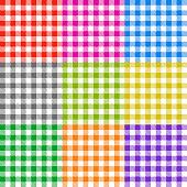 Picnic tablecloth checkered seamless vector patterns set