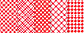istock Picnic, tablecloth seamless pattern. Vector illustration. Red plaid backgrounds. 1212840984
