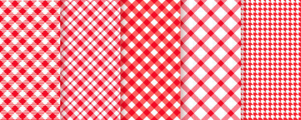 Picnic, tablecloth seamless pattern. Vector illustration. Red plaid backgrounds. Tablecloth picnic seamless pattern. Red gingham background. Vector. Plaid cloth napkin texture. Checkered diagonal kitchen print. Retro wallpaper with check square glen houndstooth. Color illustration cooking designs stock illustrations