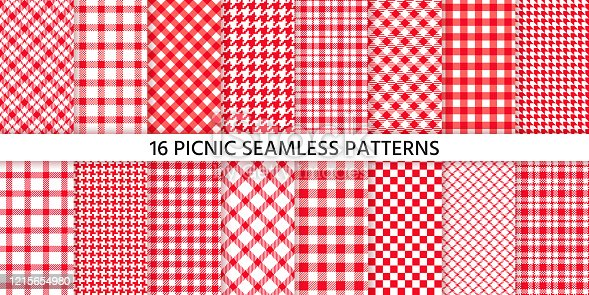 istock Picnic tablecloth seamless pattern. Vector illustration. Set red checkered prints. 1215654980