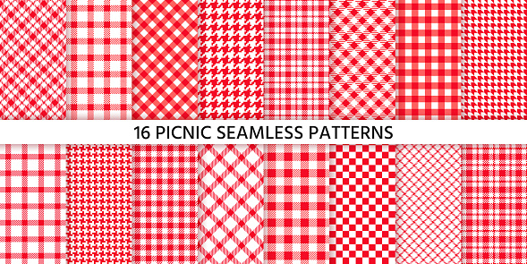 Picnic tablecloth seamless pattern. Vector illustration. Set red checkered prints.