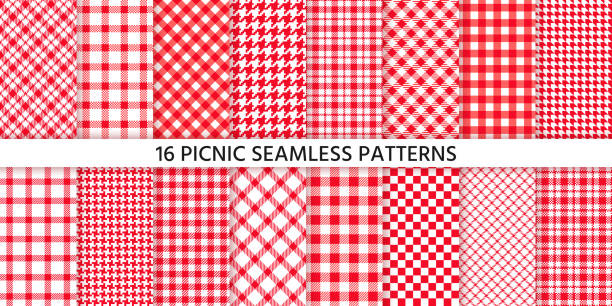 Picnic tablecloth seamless pattern. Vector illustration. Set red checkered prints. Picnic tablecloth seamless pattern. Red gingham backgrounds. Vector. Plaid cloth napkin textures. Set checkered kitchen prints. Retro wallpaper with check square glen houndstooth. Color illustration cooking borders stock illustrations