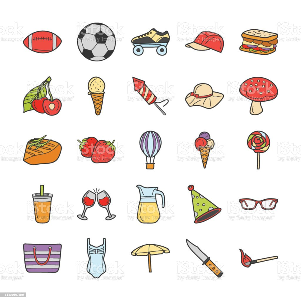 This is a picnic, travel, and holiday icons set,this pack consist of...