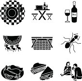 Vector icons of a picnic.