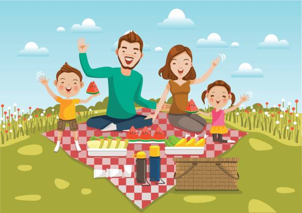 Picnic Dad,mom, son,daughter are resting in nature of summer.Sit on a green meadow with  field of flowers and bright sky.Smiling, waving,motion,Happy family on a picnic Holiday travel. Vector illustration. female sandwich stock illustrations