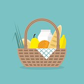 Picnic. Wicker basket full of farmers products / flat editable vector illustration, clip art