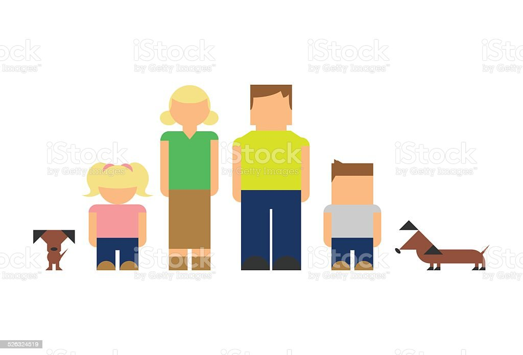 Picto Family with Dogs vector art illustration