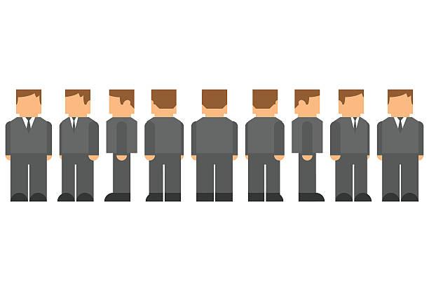 Picto Man Character Turnaround vector art illustration
