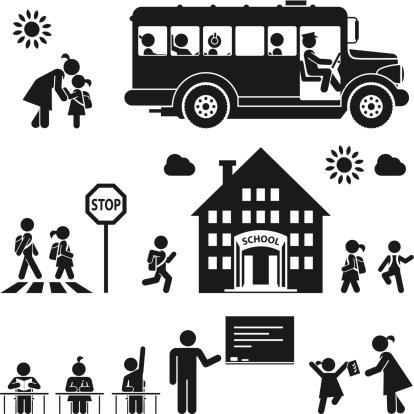 Pictogram icon set of children going to school