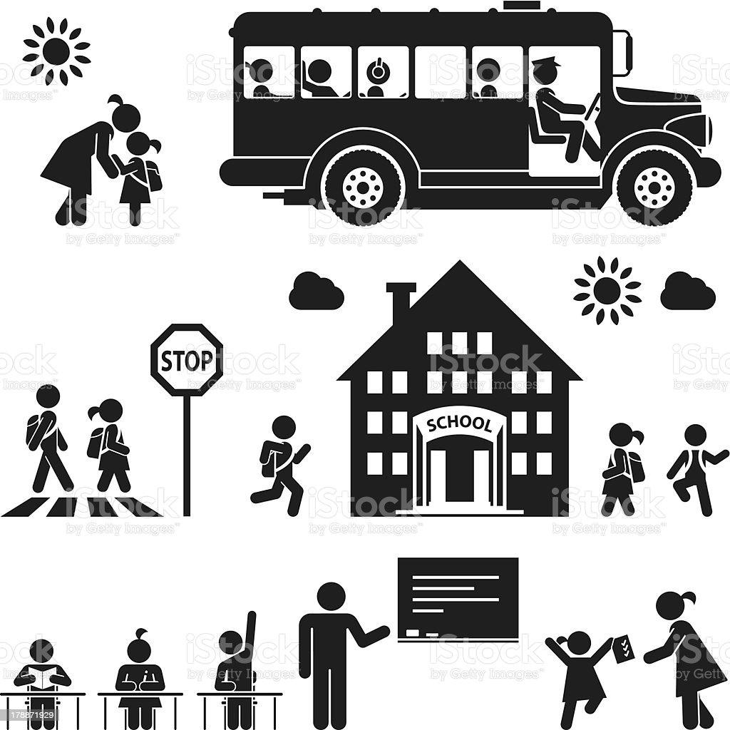 Pictograma icono conjunto de niños que van a la escuela - ilustración de arte vectorial