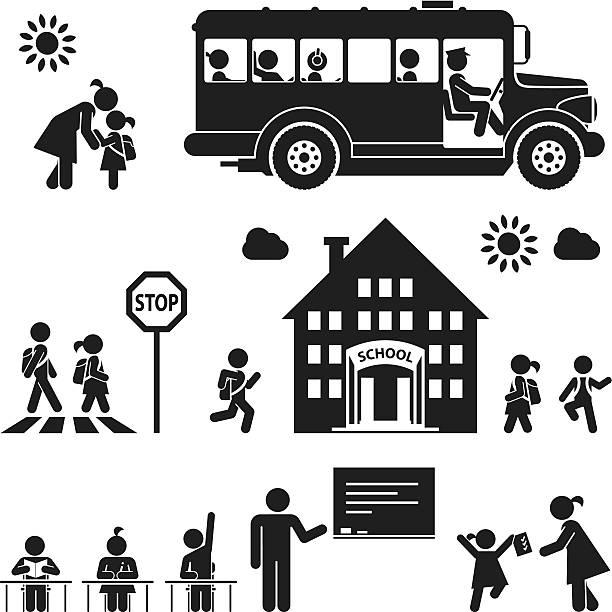 illustrations, cliparts, dessins animés et icônes de pictogram icon set d'enfants aller à l'école - école primaire