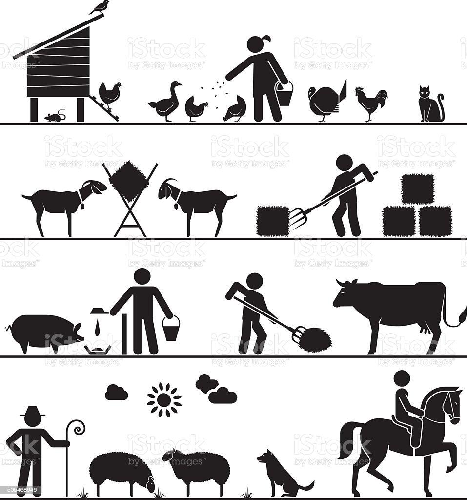 Pictogram icons presenting feeding of domestic animals on the farm. vector art illustration